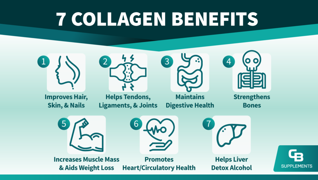 7 Collagen Benefits Overview Illustration Infographic by CB Supplements